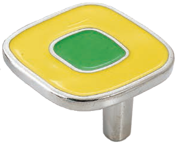 Dorset Vivo Collection Nickel Plate Yellow and Green 52mm Knob