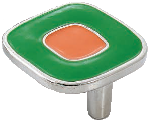 Dorset Vivo Collection Nickel Plate Green and Orange 52mm Knob
