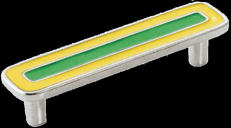 Dorset Vivo Collection Nickel Plate Yellow and Green 96mm Handle
