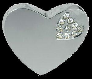 Heart Shaped 36mm Knob with K9 Glass Crystal Mini Heart Shape Chrome Plated Zinc Alloy