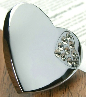 784 Heart Shaped 36mm Knob With K9 Glass Crystal Mini Heart Shape Chrome Plated Zinc Alloy