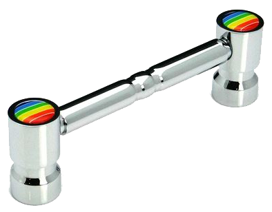 Rainbow Collection 3 Piece Chrome Plated Post and Rail 96mm Handle
