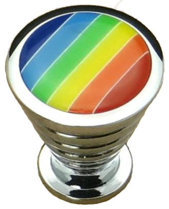 Rainbow Collection Chrome Plated Cone Shaped Rippled 25mm Knob