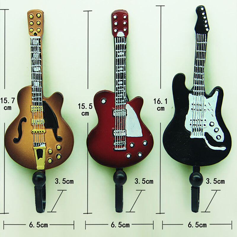 3pcs Guitar Robe Decorative Creative Coat Hooks Measurements
