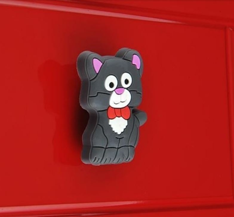 821 Adorable Grey Pussy Cat Rubber 50mm Knob