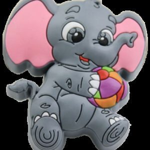 Cute Cartoon Grey Baby Elephant with Ball Rubber 46mm Knob