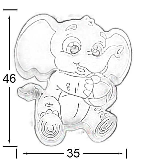 823 Cute Cartoon Grey Baby Elephant With Ball Rubber 46mm Knob