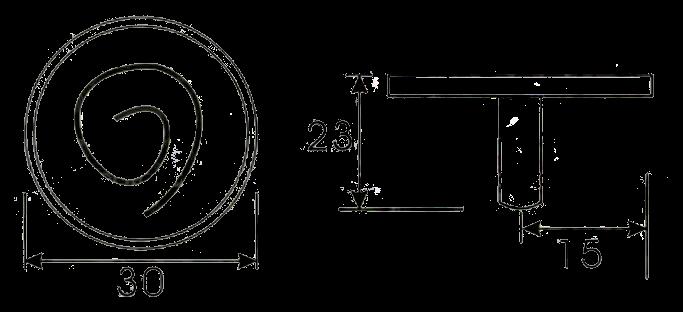 835 Cordoba Collection Nautilus Spiral Antique Iron 30mm Knob