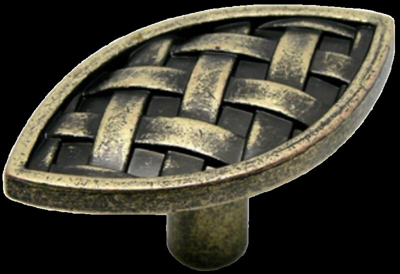 Cordoba Collection Celosia 55mm Vesica Piscis Antique Brass Knob