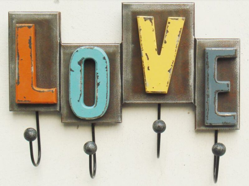 Love in Gorgeous Patina Distressed Multi Coloured Decorative 290mm 4 Coat Hook Rack