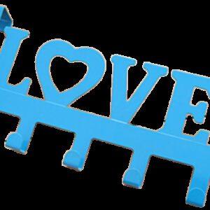 Love in Blue Decorative 335mm 5 Hook Coat Rack for Doors