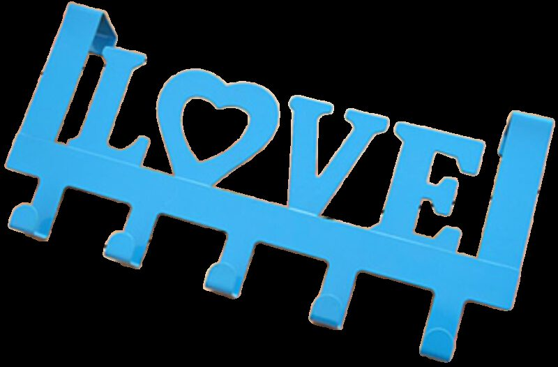 Love in Blue Decorative 335mm 5 Hook Coat Rack for Doors