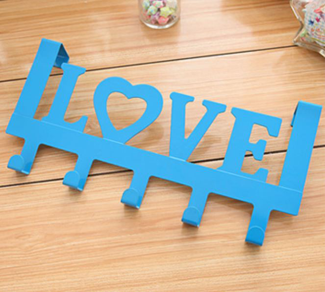 911 Love In Blue Decorative 335mm 5 Hook Coat Rack For Doors