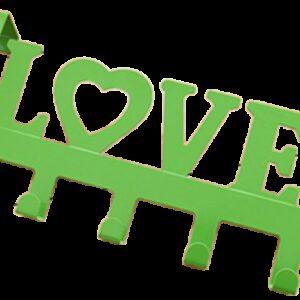 Love in Green Decorative 335mm 5 Hook Coat Rack for Doors