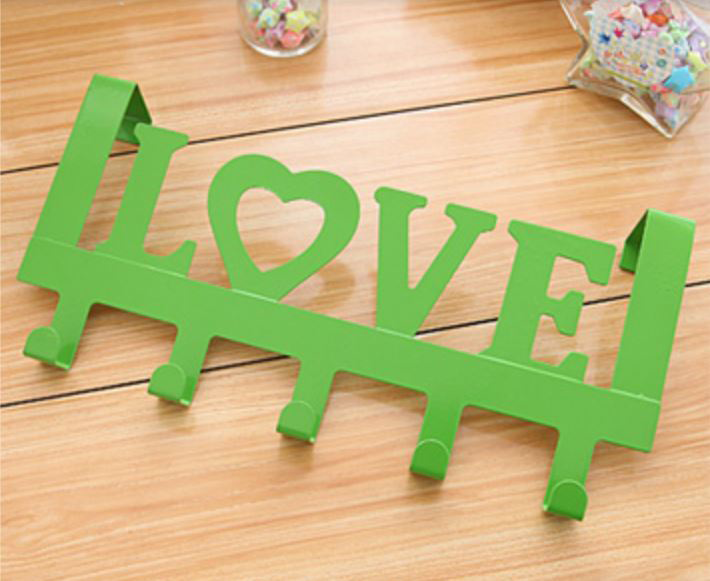 916 Love In Green Decorative 335mm 5 Hook Coat Rack For Doors