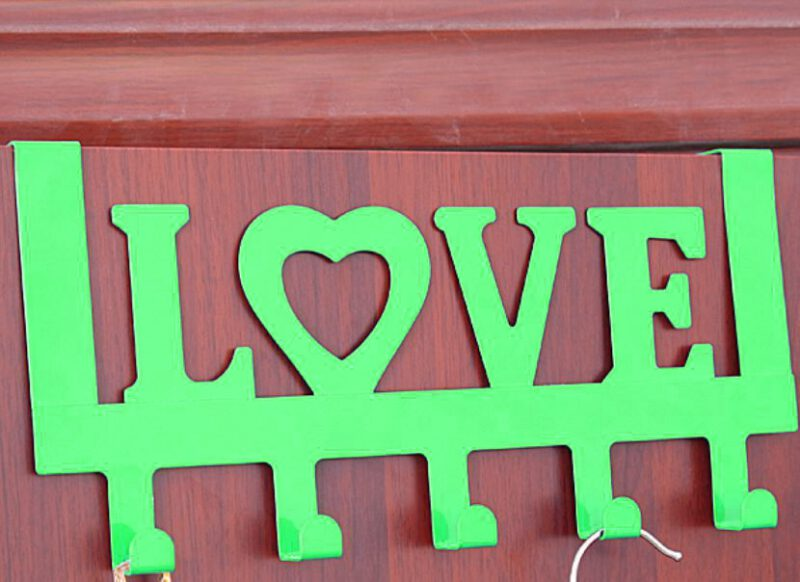 918 Love In Green Decorative 335mm 5 Hook Coat Rack For Doors