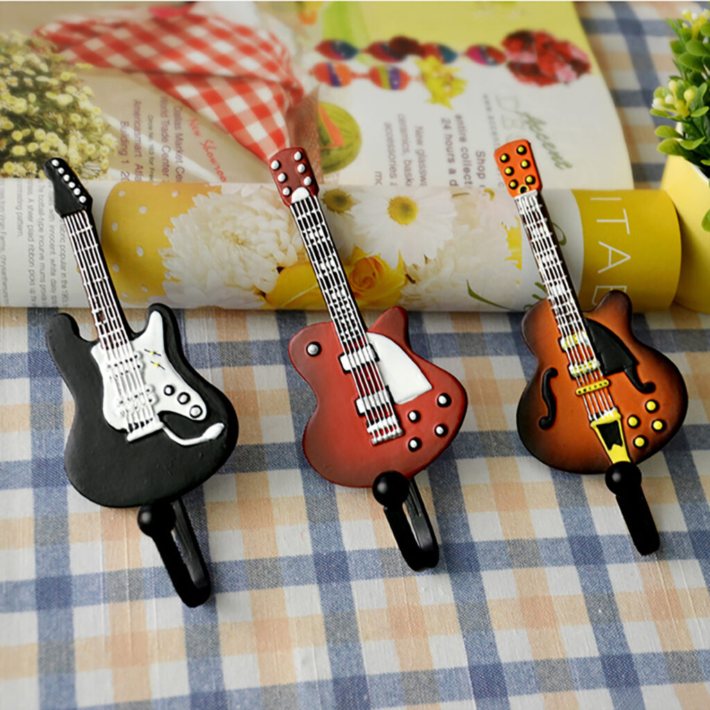 Creative Guitar Resin Coat Hat Robe Hanger Clapboard Walls Decoration Coat Hooks Clothes Hanging Wall Hook 1