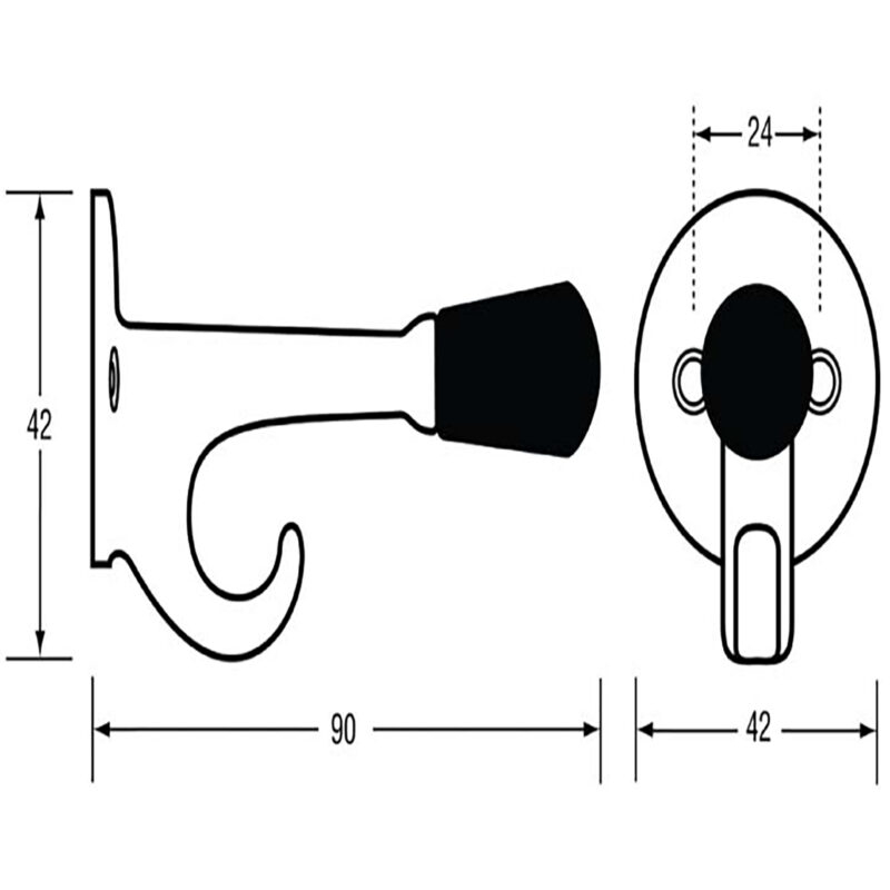 Two In One 42mm Coat Hook With Built In 90mm Door Stop Satin Chrome Dst Tp102 Sc Diagram