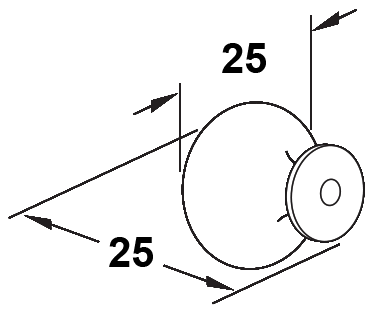 1011 Sencillo Eleganta Asiatico Black 25mm Round Knob With Base Plate