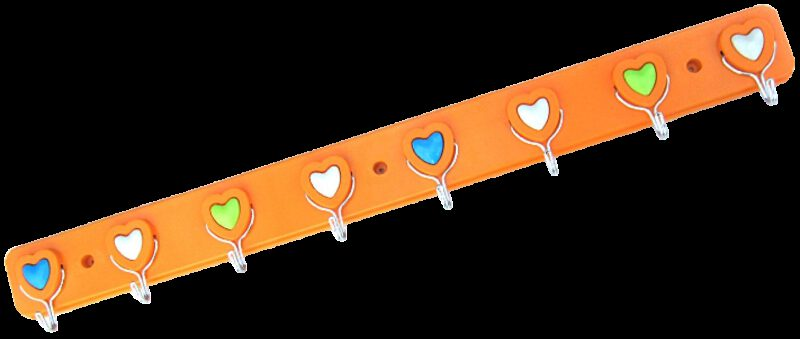 Heart Shaped Plastic Frame 8 Hook Coat Rack