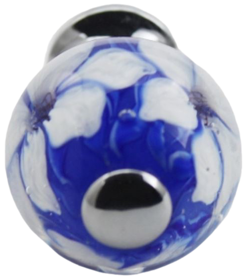 Novelle-Lee Unique White and Blue Boquet Millefiori Art Hand Crafted 25mm Glass Knob