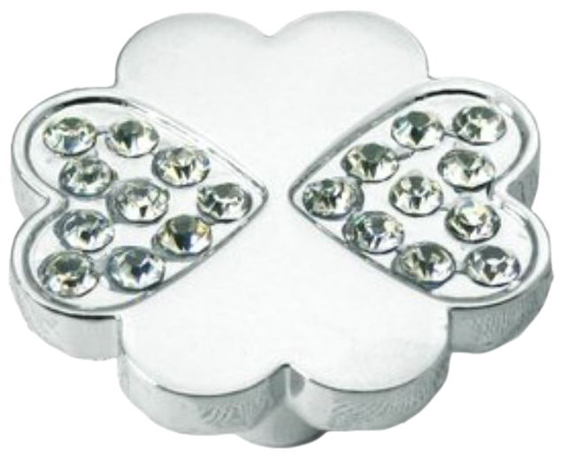 4 Leaf Clover Shaped 36mm Knob with K9 Glass Crystal Mini Heart Shapes Chrome Plated Zinc Alloy