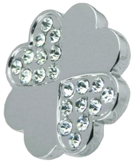 974 4 Leaf Clover Shaped 36mm Knob With K9 Glass Crystal Mini Heart Shapes Chrome Plated Zinc Alloy