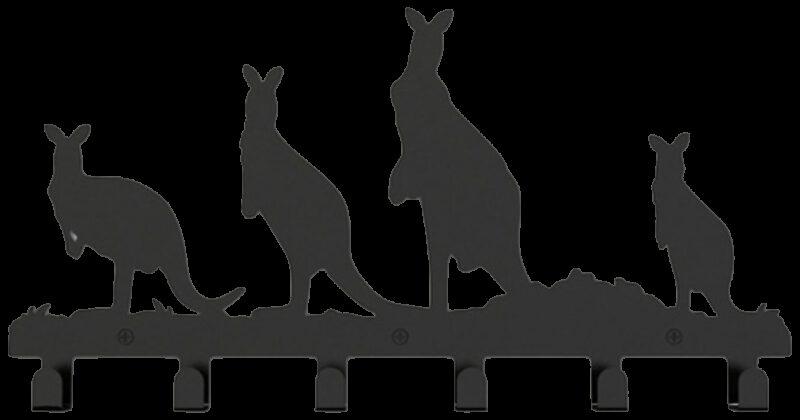 Kangaroo Decorative 400mm 6 Hook Black Coat Rack