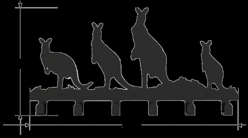 Kangaroo Decorative 400mm 6 Hook Black Coat Rack