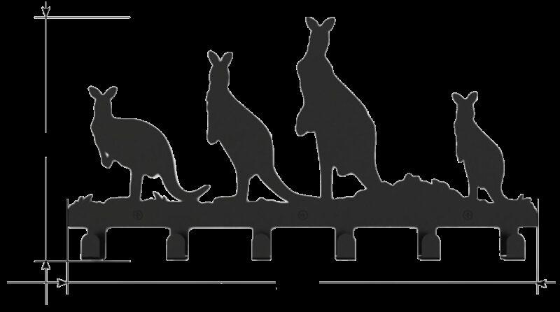1189 Kangaroo Decorative 400mm 6 Hook Black Coat Rack
