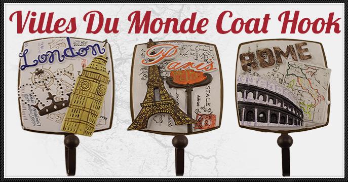 3 Piece Villes Du Monde Famous Cities Decorative Coat Hooks