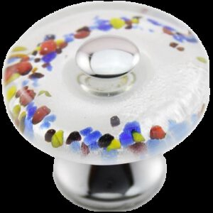 Nouvelle-Lee Multi Coloured Hand Crafted Flat Round Glass 35mm Knob