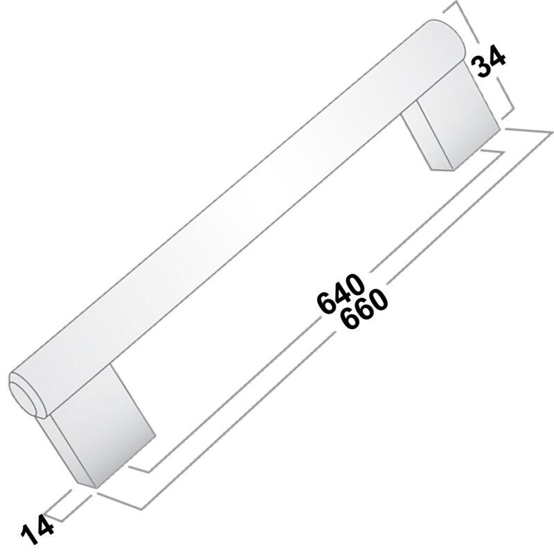 Castella Linear Flute Satin Stainless Steel 640mm Bar Handle Sah048 640 07 Diagram