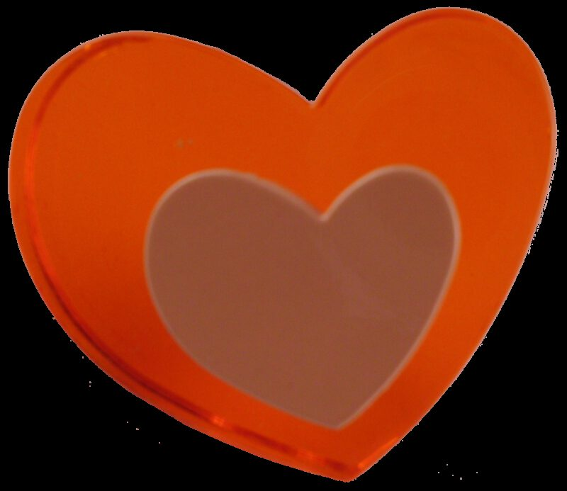 Love Heart with Mini Heart Plastic 40mm Knob