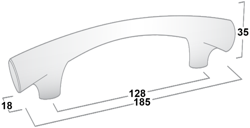 Castella Contour Taper Polished Chrome 128mm Handle 145 128 06 Diagram
