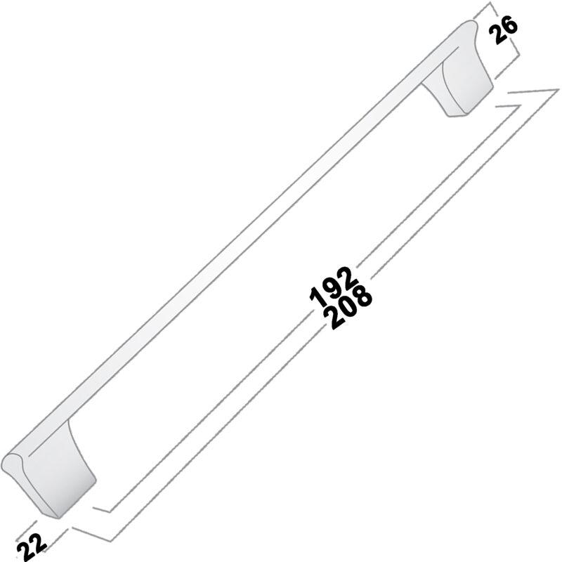 Castella Contour Gradient Brushed Nickel 192mm Handle 732 192 10 Diagram