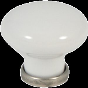 Castella Heritage Manor Pewter and White Porcelain 30mm Knob