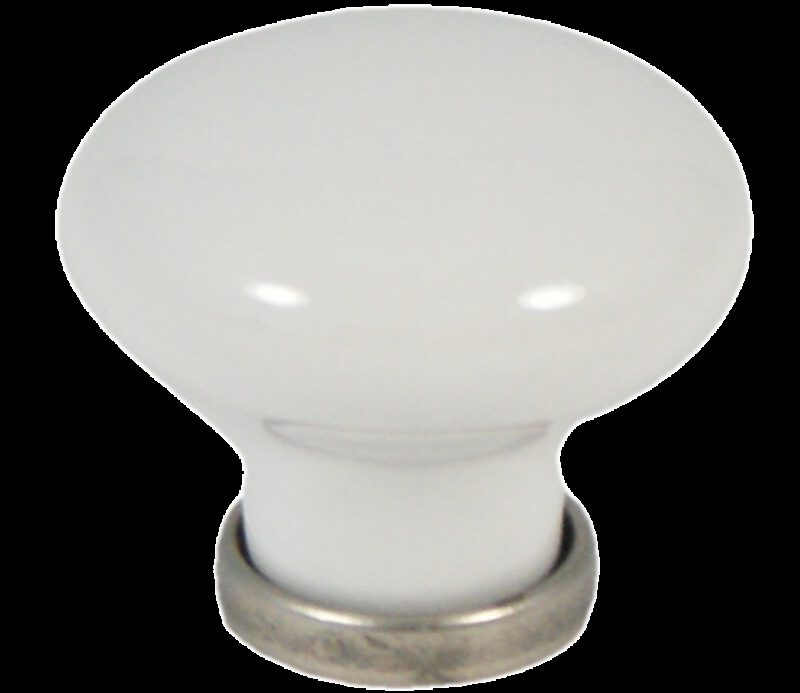 Castella Heritage Manor Pewter and White Porcelain 30mm Knob
