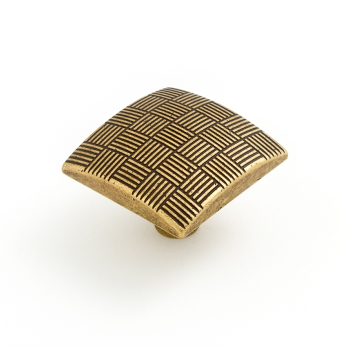 Castella Geometric Tessellate Antique Brass Square 34mm Knob