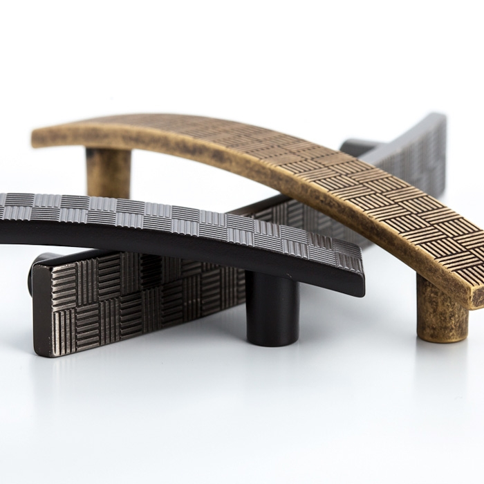 2135 Castella Geometric Tessellate Brushed Tin Square 34mm Knob