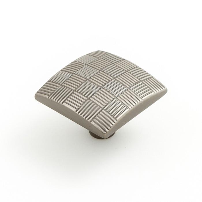 2136 Castella Geometric Tessellate Brushed Tin Square 34mm Knob