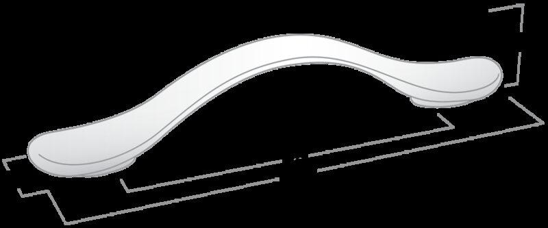 Castella Contour Wave Satin Chrome 96mm C Pull Handle