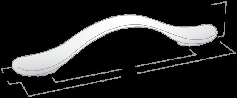 2557 Castella Contour Wave Polished Chrome 128mm C Pull Handle