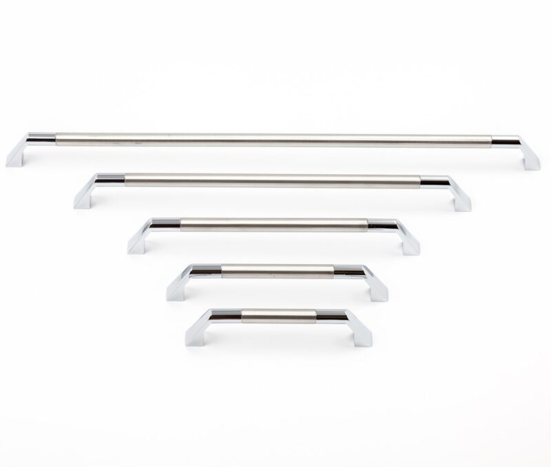 2618 Castella Geometric Facet Stainless Steel And Polished Chrome C Pull 160mm Handle