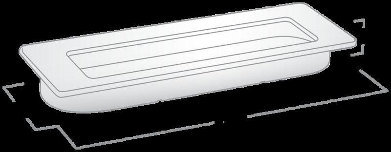 2848 Castella Minimal Flush Satin Chrome 145mm Rectangle Flush Pull Handle