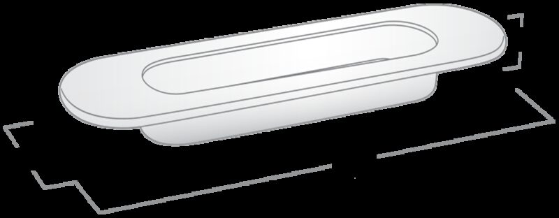 2855 Castella Minimal Flush Satin Chrome 150mm Oval Flush Pull Handle