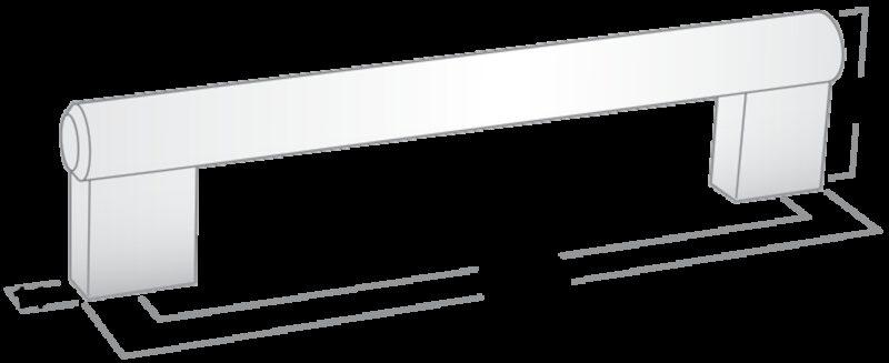 Castella Statement Loft Stainless Steel 384mm Rail Handle