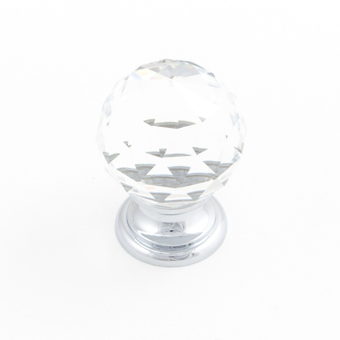 Castella Heritage Sovereign Sphere Transparent Crystal with Polished Chrome Base 25mm Round Knob