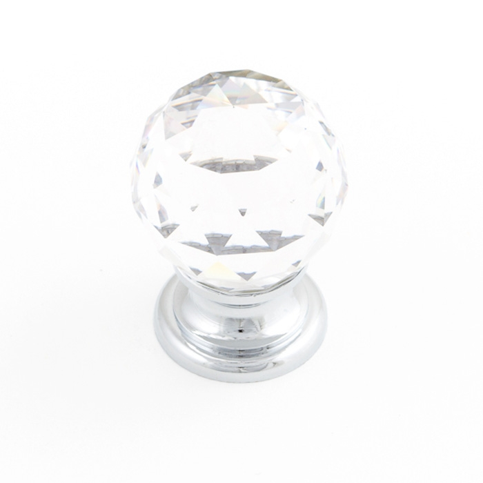 Castella Heritage Sovereign Sphere Transparent Crystal with Polished Chrome Base 30mm Round Knob