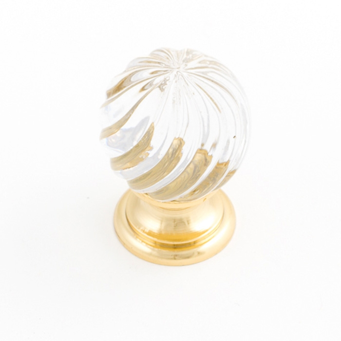Castella Heritage Sovereign Twirl Transparent Crystal with Bright Gold Base 25mm Round Knob